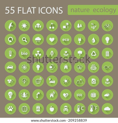 Big set of nature ecology green icons with long shadow. Vector circle buttons in flat design for web and mobile app EPS 10 - stock vector