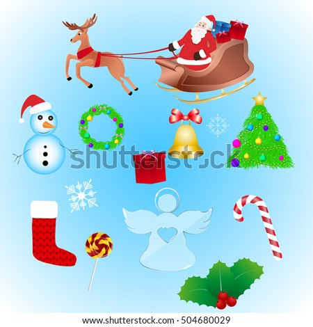 Big set of new year and christmas objects. Happy new year and merry christmas. Set - vector stock.