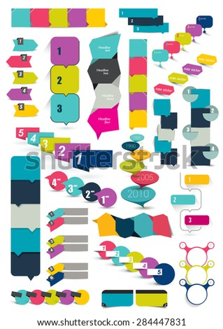 Big set of numbered banners, templates. Infographics box charts. - stock vector