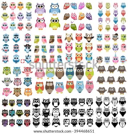 Big set of owls - stock vector