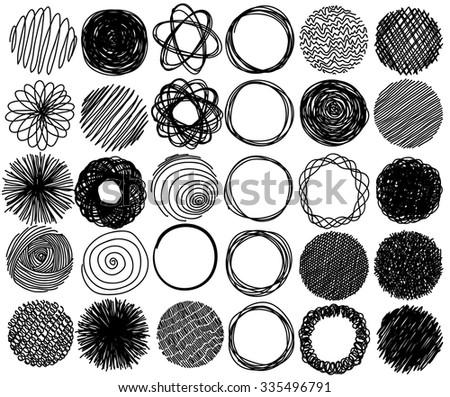 Big set of pencil hand drawn doodle circles, vector - stock vector