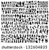 Big set of people silhouettes - stock photo
