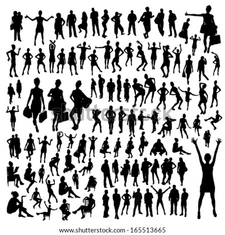 Big set of people silhouettes - stock vector
