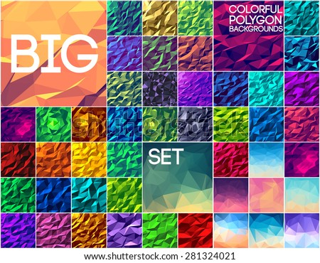 Big set of polygonal colorful backgrounds. Geometric art concept, technology, nature, colors, motifs, elements. Vector abstract template for greeting card or invitation design illustration.  - stock vector