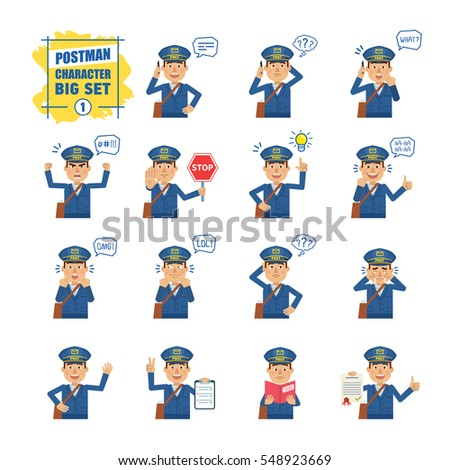 Big set of postman emoticons showing different actions, gestures, emotions. Cheerful mailman talking on phone, holding stop sing, document, book and doing other actions. Simple vector illustration