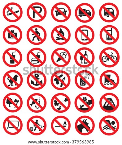 Big set of prohibition signs - stock vector