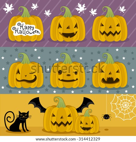 Big set of pumpkins for Halloween party vector illustration