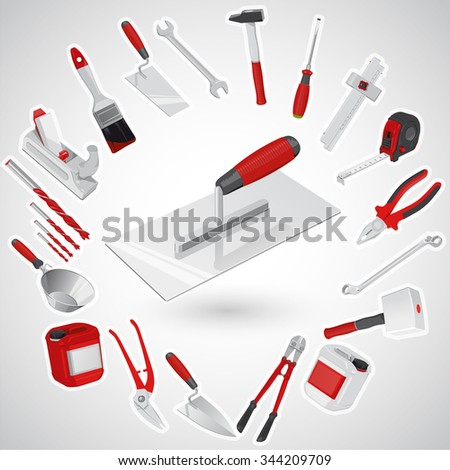 Big set of red construction tools - instruments. Bricklayer's trowel for concrete and cement. Master vectors, axe, brush, drill, hammer, jerrican, mallet, pliers, roulette meter, ruler, trowel, wrench - stock vector