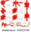 Big set of red gift bows with ribbons. Vector. - stock photo