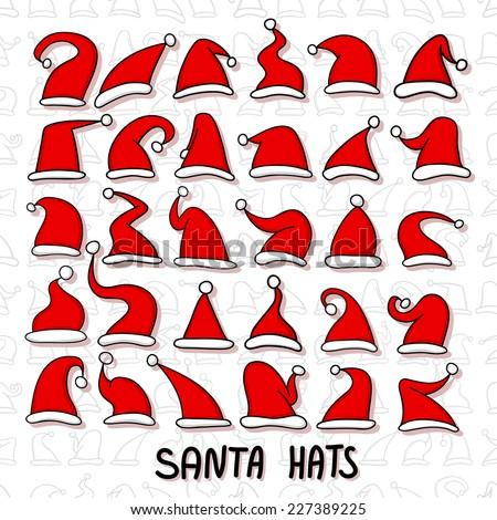 Big set of Red Santa hats.  - stock vector