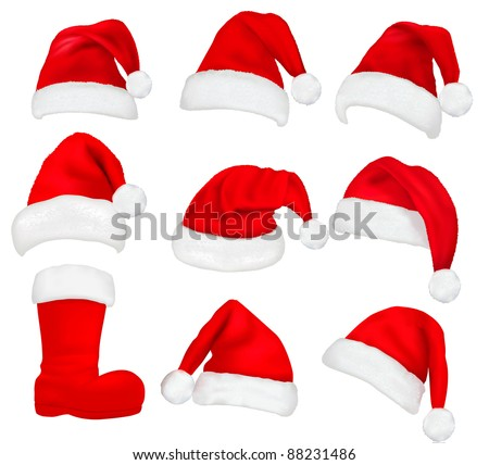 Big set of red santa hats and boot. Vector.