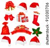 Big set of red santa hats and clothing. Vector illustration. - stock vector