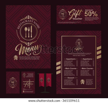 Big set of restaurant and cafe menu design,voucher,business card,flag table,Restaurant cafe menu, template design, Food flyer - stock vector