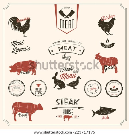 Big set of Retro elements for a restaurant designs - stock vector