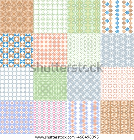 Big set of retro seamless pattern. Vector collection
