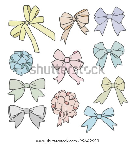 big set of ribbon bows in different pastel colors - stock vector