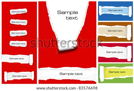 Big set of ripped colorful paper backgrounds. Vector illustration. - stock vector