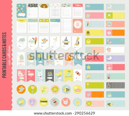 Big Set of Romantic and Cute Vector Cards, Notes, Stickers, Labels, Tags with Spring Illustrations and Wishes. Template for Greeting Scrap booking, Congratulations, Invitations. Vertical Card Design - stock vector