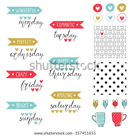 Big set of romantic vector elements for cards and stickers. Love theme design. For wedding, anniversary, birthday, Valentine's day, party invitations, scrapbooking. Vector illustration. - stock vector
