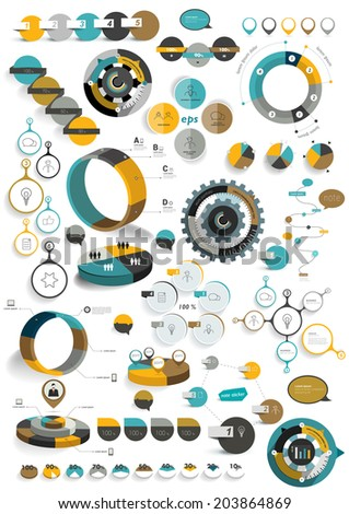 Big set of round infographic templates. Vector diagrams, schemes, charts, banners, step by step tutorials. - stock vector