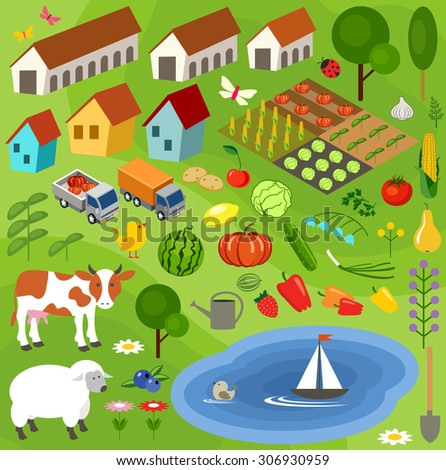 Big set of rural farmer elements. Fields, animals, plants. Subjects can be used for games. Vector illustration - stock vector