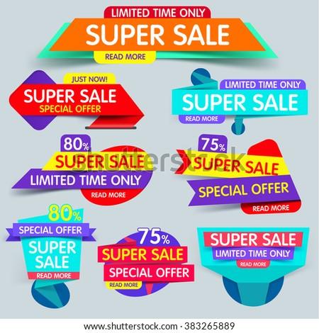 Big set of  sale banner. Super sale banner. Sale and discounts. Flat sale banner. New offer. Set of Website Banner.  - stock vector