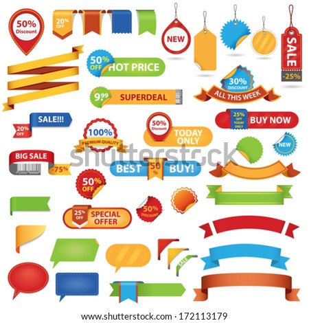 Big Set of Sale Stickers, Labels And Ribbons. Isolated On White Background - stock vector
