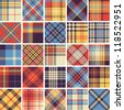 Big set of seamless tartan patterns - stock photo