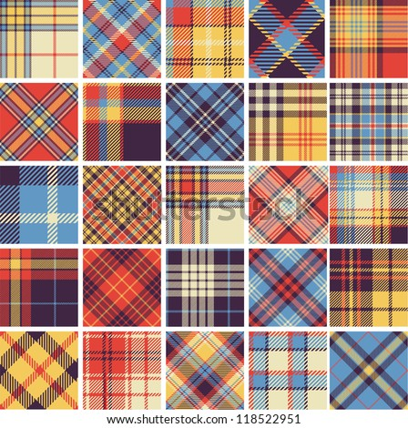 Big set of seamless tartan patterns - stock vector
