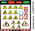 big set of shiny under construction, warning and fire safety signs and symbols - stock photo