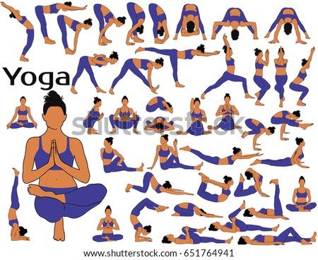 Big set of silhouettes of girl with colored skin tone in blue costume standing, sitting and laying in different yoga poses isolated on white background. Complex of yoga exercsises.