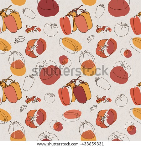 Big set of sketched tomato. Various tomatoes vector illustration. Seamless pattern.