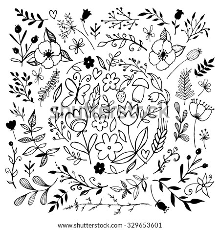big set of sketches and line doodles - hand drawn design elements - isolated flowers, leaves, herbs - for decoration prints, labels, patterns - vector illustration. Coloring book.