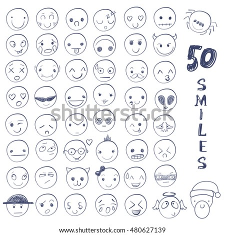Big set of 50 smiles. Blue smiles. Set of hand drawn smiles on white background VECTOR