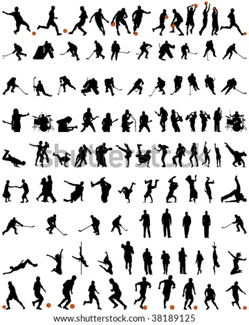 Big Set of Smooth Different People Vector Silhouette. Dance and Sport. Singing, Rock Musicians, Jumping, Standing,  Football, Soccer, Basketball, Hockey, Athlete.  High Detail Vector Illustration.