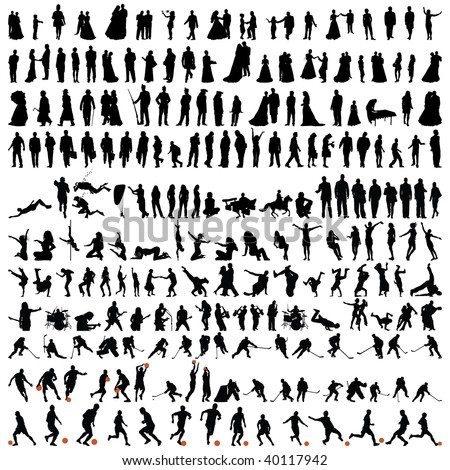 Big Set of Smooth Different People Vector Silhouette in Variable Poses . Dance and Sport. Singing, Rock Musicians, Jumping, Standing,  Football, Soccer, Basketball.  High Detail Vector Illustration.  - stock vector