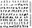 Big Set of Smooth Different Winter Sport Pose Men and Women People  Silhouettes. Hockey, Biathlon, Snowboarder, Skating, Ice Skiing, Figure Skating, Curling. High Detail Vector Illustration.  - stock photo