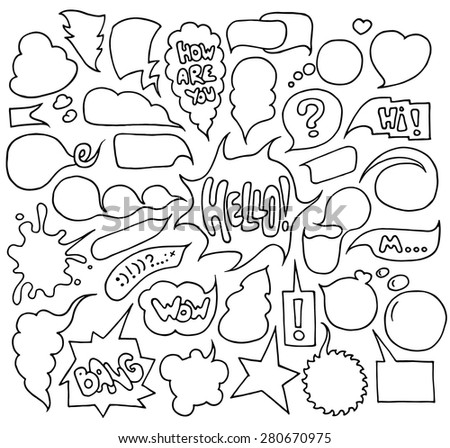 Big set of  speech and think bubbles. Doodle cartoon comic bubbles isolated on white background. Hand-drawn vector organized in groups for easy editing. - stock vector