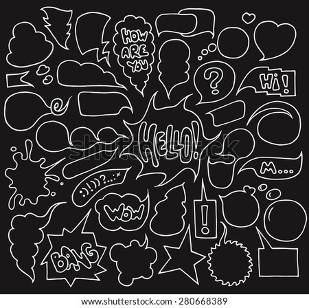 Big set of  speech and think bubbles isolated on dark background. Doodle cartoon comic bubbles.Hand-drawn vector organized in groups for easy editing. - stock vector