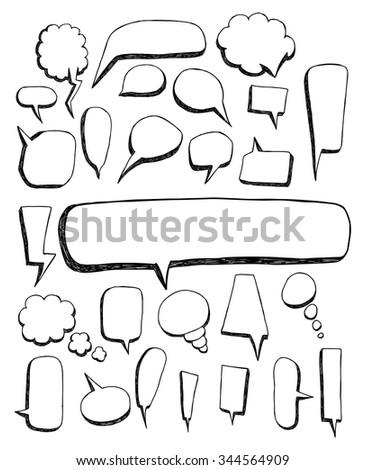 Big set of Speech bubble doodles - stock vector