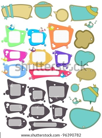 Big set of Speech bubbles, labels with funny birds, place for text,vector  illustration over white - stock vector