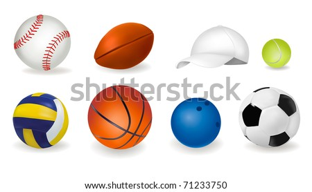 Big set of sport balls and tennis cap. Vector illustration. - stock vector