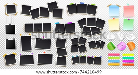 Big set of square vector photo frames on sticky tape, pins and rivets, and office paper sheets or sticky stickers with shadow. Vector illustration. Isolated on transparent background