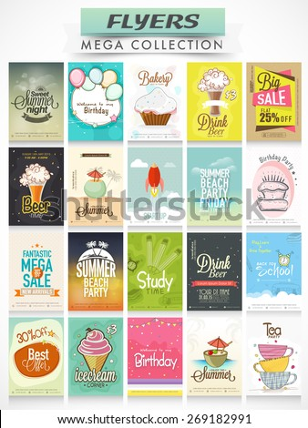 Big set of stylish Flyers, Invitations and Menu Cards for different purpose.   - stock vector