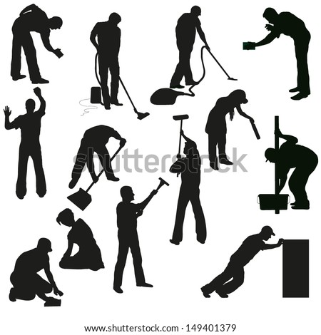 Big set of thirteen professional cleaners black  silhouettes - stock vector