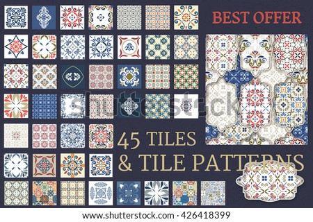 Big set of 45 Tile Seamless Patterns & Patchwork designed seamless template