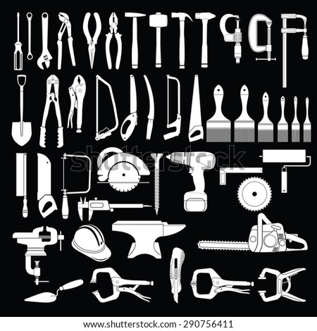 Big set of tools on black background - stock vector