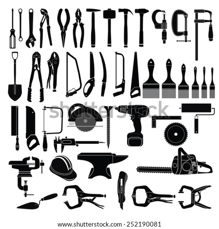Big set of tools on white background  - stock vector