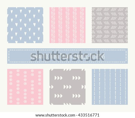 Big set of tribal seamless patterns with archaic geometric ornament. Primitive ethnic style with hand drawn endless texture. Pastel romantic color palette (pink, blue, brown) - stock vector