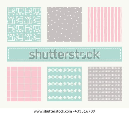 Big set of tribal seamless patterns with archaic geometric ornament. Primitive ethnic style with hand drawn endless texture. Pastel romantic color palette (pink, green, brown) - stock vector
